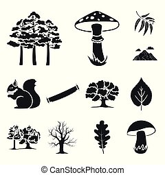 Forest and nature black icons in set collection for design....