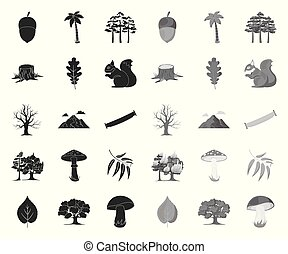 Forest and nature black. mono icons in set collection for design. Forest life vector symbol stock web illustration.