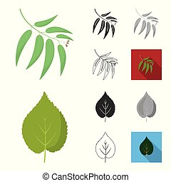 Forest and nature cartoon, black, flat, monochrome, outline icons in set collection for design. Forest life vector symbol stock web illustration.