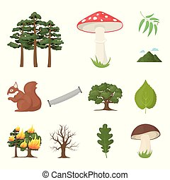 Forest and nature cartoon icons in set collection for...