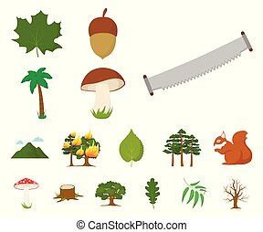 Forest and nature cartoon icons in set collection for design. Forest life vector symbol stock web illustration.