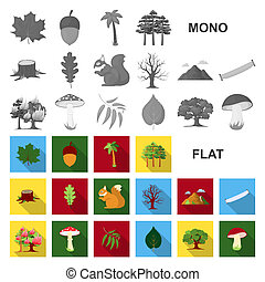 Forest and nature flat icons in set collection for design. Forest life vector symbol stock web illustration.