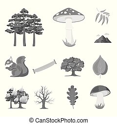 Forest and nature monochrome icons in set collection for...