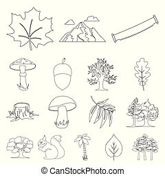 Forest and nature outline icons in set collection for design. Forest life vector symbol stock web illustration.