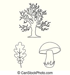 Forest and nature outline icons in set collection for...