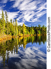 Forest and sky reflecting in lake - Evergreen forest and sky...