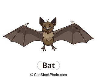 Forest animal bat cartoon vector illustration