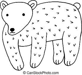 Forest animal bear doodle cartoon simple illustration. kids draw