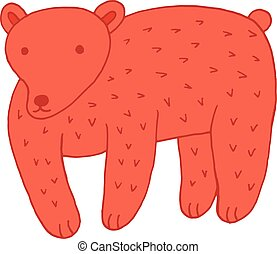 Forest animal bear doodle cartoon simple illustration. kids drawing style
