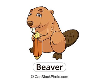 Forest animal beaver cartoon for children vector