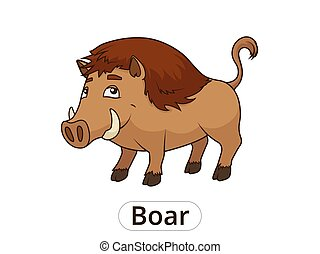 Forest animal boar cartoon for children vector