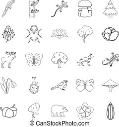 Forest animal icons set, outline style
