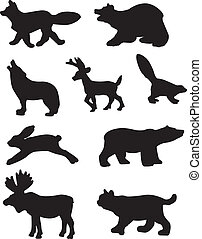 Forest Animal Silhouettes - A vector illustration of some...