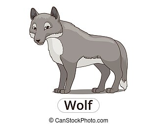 Forest animal wolf cartoon vector illustration