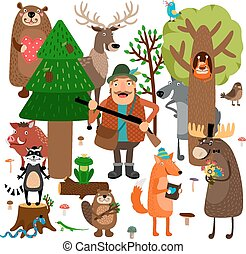 Forest animals and hunter. Vector illustration