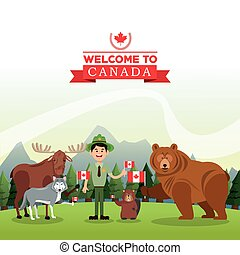 Forest animals. Canada icon. cartoon design. Colorfull illustrat