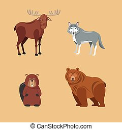 Forest animals. cartoon design. Colorfull illustration