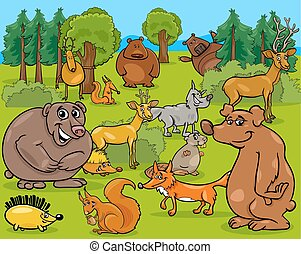 forest animals cartoon illustration