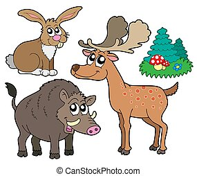 Forest animals collection 1 - isolated illustration.