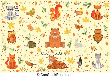 Forest Animals Covered In Ornamental Patterns Illustration....