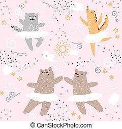 Forest animals dancing ballet seamless pattern. Cute cartoon wild nature children kids bear fox cat hand drawing ballerina character pink textile print design element. Vector doodle illustration