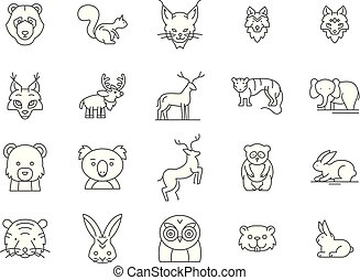 Forest animals line icons, signs, vector set, outline illustration concept