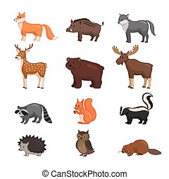 Forest animals set. - Forest animals set in flat style...