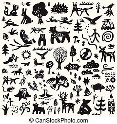forest animals - vector doodle set , graphic icons
