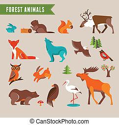 Forest animals vector set