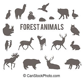 Forest animals vector silhouettes set.