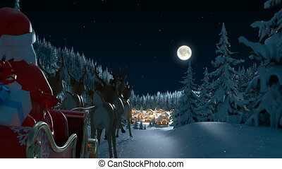 forest., animation, arrive, hd, santa, entiers, 3d, claus, beau, noël, village, joyeux