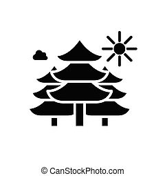 Forest area black icon concept. Forest area flat  vector symbol, sign, illustration.