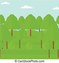 forest., arrière-plan vert