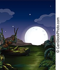 Forest scene with bright fullmoon