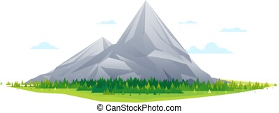Forest at the foot of high mountains