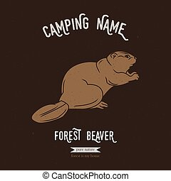 Forest beaver vector illustration. European animals...