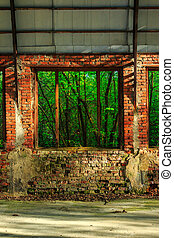 forest behind the window frame of an abandoned hangar - view...