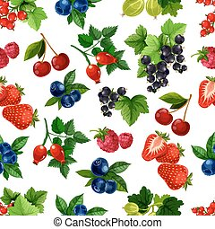 Forest berries and fruits vector seamless pattern