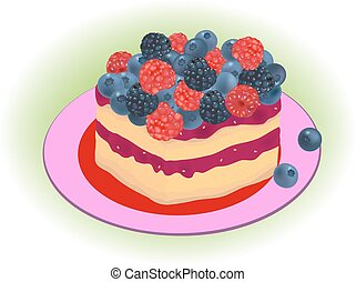 forest berries cake vector