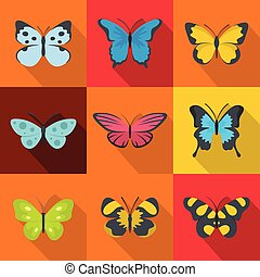 Forest butterfly icons set, flat style