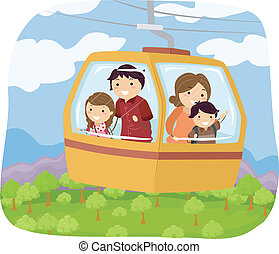 Forest Cable Car - Illustration Featuring a Family in a...
