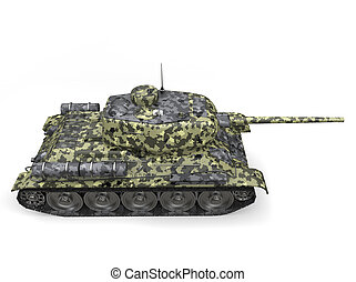 Forest camo old military tank - top down side view