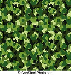 Forest camouflage geometric hexagon seamless pattern