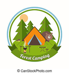 Forest Camping circular emblem with a curious bear peering around a tent in a pine forest with green trees with a campfire table and chair and a ribbon banner with the text - Forest Camping - below