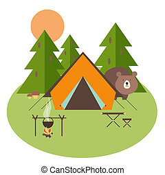 Forest Camping - Camping in forest with tent, trees and...