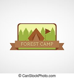 Forest Camping logo. Wilderness adventure badge graphic design emblem