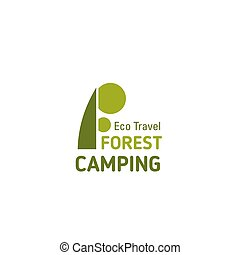 Forest camping travel letter F vector icon