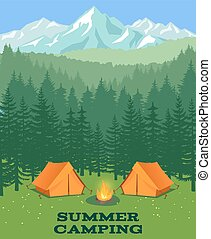 Forest camping vector illustration. Tourist tent on glade....