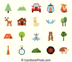 forest camping zone set icons
