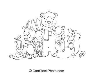 Forest cartoon animals.